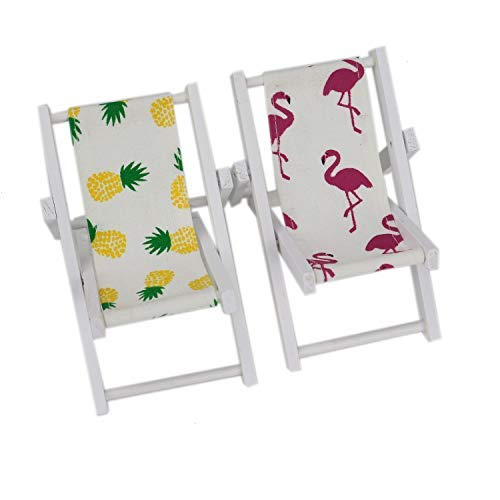 Pomeat 2 PCS Mini Wooden Beach Chair Cell Phone Holder Longue Deck Chair for Craft Dollhouse Accessories