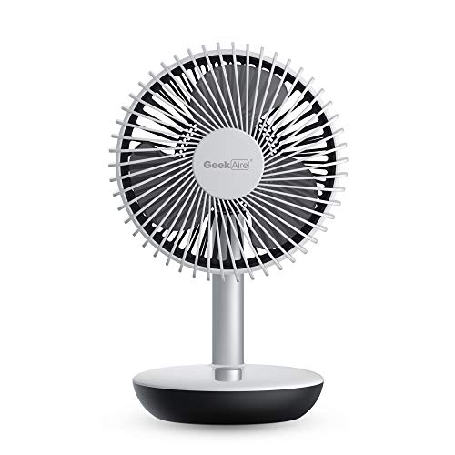 Geek Aire, 6 Inch Rechargeable Oscillating Table Fan with 5200 mAh Li-ion Battery and Easy Turn Knob to Control Speed (White)