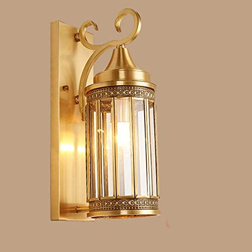 All Copper Outdoor Wall Glass Lampshade European American Outdoor Courtyard Balcony Aisle Corridor Wall Washer Door Exterior Wall Lamps Villa 17 42cm Delicate Indoor Lamp Decorative HUERDAIIT