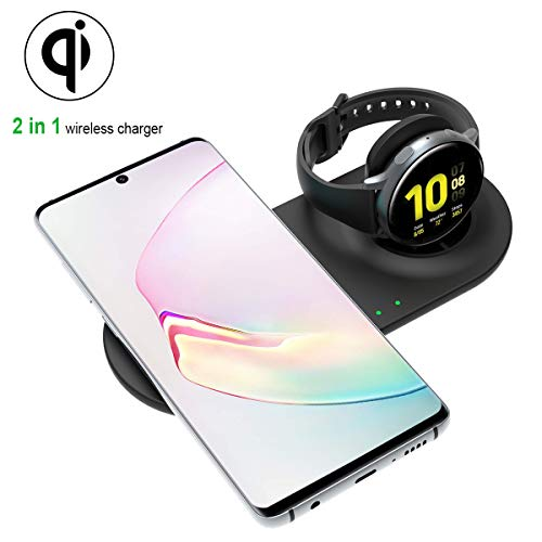 Aimtel Ladestation Kompatibel mit Samsung Galaxy Watch Wireless Charger ,Qi-zertifiziert Ladegerät für Galaxy S20 Ultra Galaxy Z Flip Galaxy Watch Active 2/Active/46mm/42mm und Galaxy Buds Plus