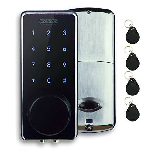 COLOSUS NDL626 Keyless Entry Deadbolt Smart Door Lock with Auto-Lock, Anti-Theft, Touchscreen Keypad– Up to 100 Users – Multiple Codes, 4 Key Fobs, 2 Keys