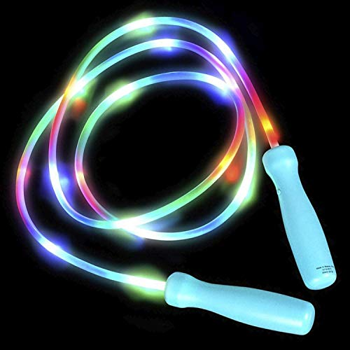 Lumistick LED Light-Up Jump Rope   Flashing Multicolor Comfortable Handles Skipping Rope   Adjustable Tangle-Free Blinking Jump Training Rope for Exercise (1 Rope)