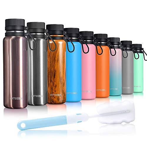ARTEESOL Trinkflasche, Wasserflasche 500/750/1000 ml Edelstahl Water Bottle auslaufsicher doppelwandig Wide Mouth Design Ökofreundlich & BPA Frei Outdoor Sports Gym Workout Wandern Camp & Office