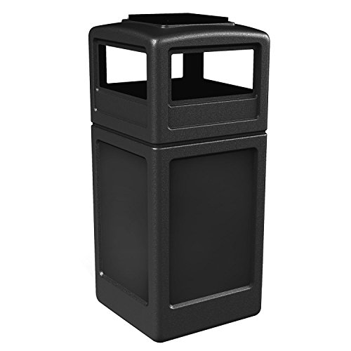 Commercial Zone Square Waste Container with Ashtray Lid, Polyethylene, 42-gal, Black