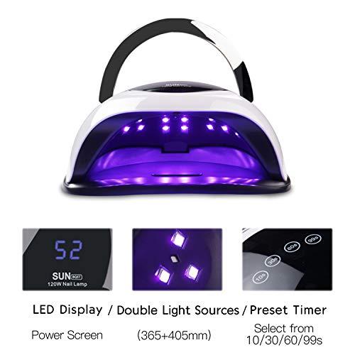 WEVILI SUNBQ5T UV LED LAMP - 120W Professional Nail Dryer Gel Polish Light with 4 Timer Setting Portable Handle Curing Lamp Gel Nail Lamp Drying Lamp For Gel Varnish
