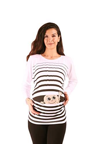 M.M.C. Winke Winke Baby - Lustige witzige süße Umstandsmode gestreiftes Umstandsshirt mit Motiv für die Schwangerschaft Schwangerschaftsshirt, Langarm (Weiß, Large)