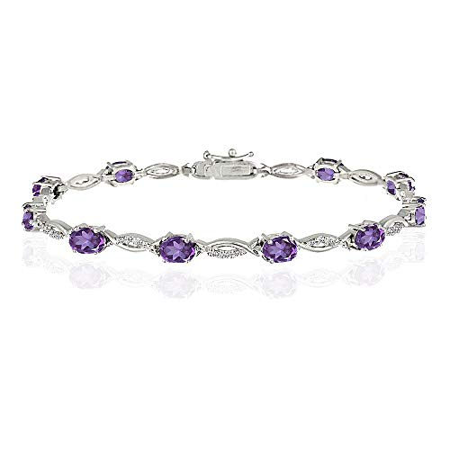 Sterling Silver Genuine Tanzanite Oval Cut Swirl Tennis Bracelet