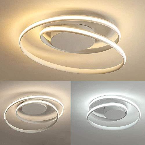 Lámpara de techo LED de iluminación moderno dormitorio redondo del anillo espiral de metal del techo de acrílico del arte por control remoto Comedor interior Plafon nórdica creativa lámpara del techo,