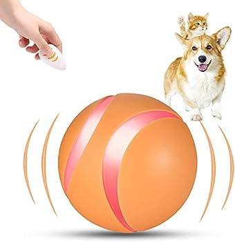 ALBAGO Boule de Jouet Interactive pour Chien/Chat avec télécommande, Jouets de Balle Mobiles automatiques Rechargeables par USB pour Animaux de Compagnie (Orange)