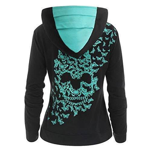Lazzboy Hoodie Sweatshirt Damenmode Schmetterling Schädeldruck Tops Damen Kapuzenpullover Pullover Mit Kapuze(Schwarz,4XL)