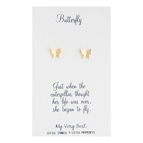 My Very Best Tiny Butterfly Stud Earrings (Gold Plated Brass)