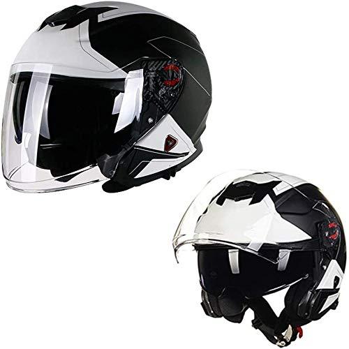 ZHXH Harley Helmet/dot Certification/retro Adult Harley Motorcycle Half Helmet con Uv Gafas de sol dobles Sombrillas Four Seasons Hombres y mujeres Atv Helmet M, L, Xl, Xxl