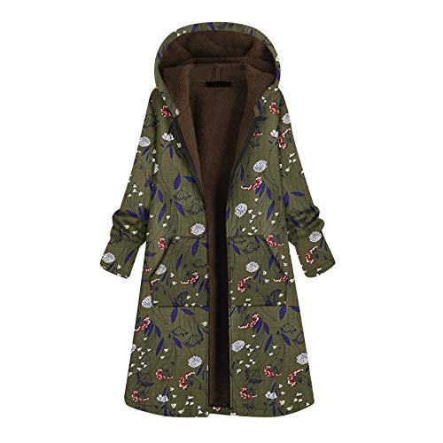 Women Winter Jackets,Fashion Casaul Tunic Vintage Fleece Printed Floarl Cotton-Padded Jacket with Hooded Zip Long Velvet Jacket Green