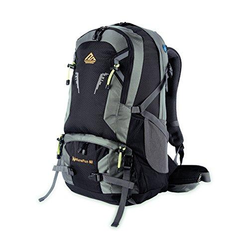 NatureFun Zaino da montagna 50L Impermeabile per campeggio, trekking o escursioni. Con rivestimento per la pioggia (Nero)