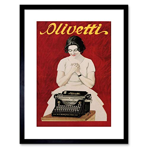 Wee Blue Coo Ad Olivetti Typewriter Vintage Italy Framed Wall Art Print