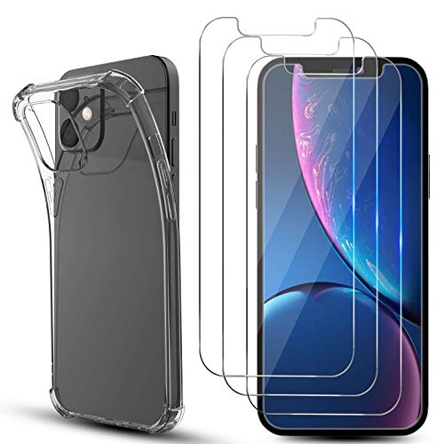 [3 Pack] MMY Compatible with iPhone 12 Mini Screen Protector 5.4 Inch + [1 Pack] Clear Compatible with iPhone 12 Mini Case Tempered Glass Film HD Clarity (Clear) (iPhone 12 Mini, Clear)
