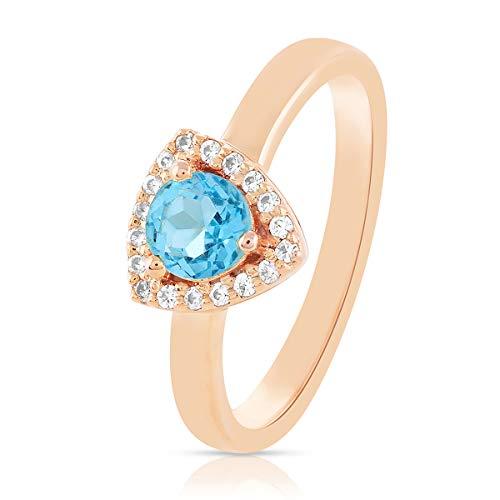 Anillos Gemshiner para niñas anillo de piedras preciosas de topacio azul azul anillo de plata de ley 925 para mujer, regalos de cumpleaños para mamá, esposa, boda (Oro de Rose plateado)