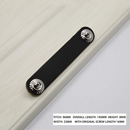 XCVB Lederen handgreep Kastdeur Pull Lederen trekker Ladekast Zwart lederen kledingkast Deurknoppen en handgrepen Meubels, 8