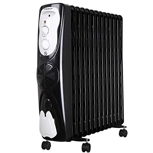 Aigostar Protector 33JHG - Radiador de aceite portátil, 13 elementos, 2800 Watios de potencia. Calor seguro con sistema de aire caliente y termóstato de temperatura. Diseño exclusivo.