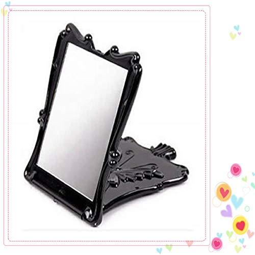 LASISZ Corée Femmes Portable Noir Papillon Rose Rétro Maquillage Étranger Compact Poche Miroir Élégant Maquillage Cosmétique Miroir, Noir