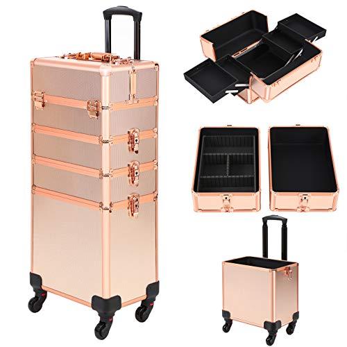 Ridgeyard 4 in 1 Universal Large Aluminium Frame Beauty Case Makeup Cosmetic Rolling Case Trolley Trunk Vanity Professional Portable Travel Organizer Box (Rose Gold)