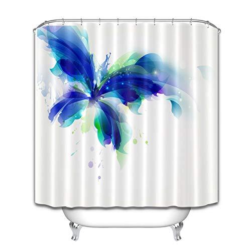 Abstrakter Schmetterling blau & Cyan-Blauer Fleck HD-Druck, wasserdichter Duschvorhang für das Badezimmer, 12 Haken kostenlos, 180x180cm