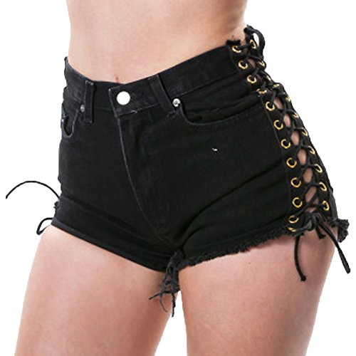 Anyu Shorts Donna Jeans Vita Alta Slim Fit Pantaloncini Strappati Nero Small