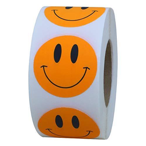Hybsk Orange Smiley Face Happy Stickers 1.5' Round Circle Teacher Labels 500 Total Per Roll (Orange)