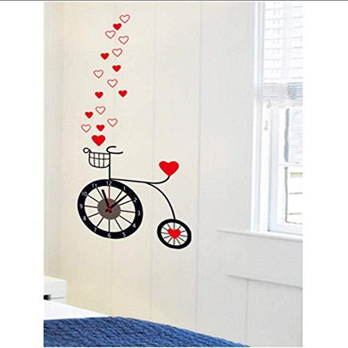 Muurstickers Liefde Fiets Disc Klok Muurstickers Cartoon Art Muurstickers voor Kids Kamers Slaapkamer Woonkamer Home Decor