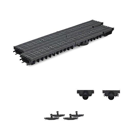 2m Entwässerungsrinne Terrassenrinne Stegrost Kunststoff komplett SET, System A15 70mm, Schwarz Line, NEUHEIT Rinne mit integrierter Dichtung Klick System