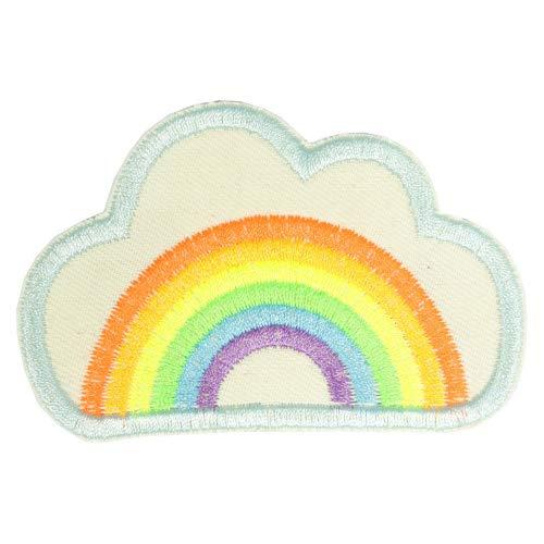 Flicken zum aufbügeln Regenbogen in Wolke H/B 6 x 9,4 cm Bügelbild neon Aufbügler hell Bio Bügelflicken für Kinder und Erwachsene