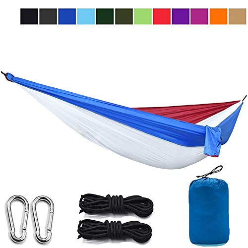 LLSS Lightweight Parachute Portable Gift Hammocks for Hiking,260 * 140cm - Travel, Backpacking, Beach, Yard Gear Includes Nylon Straps & Steel Carabiners