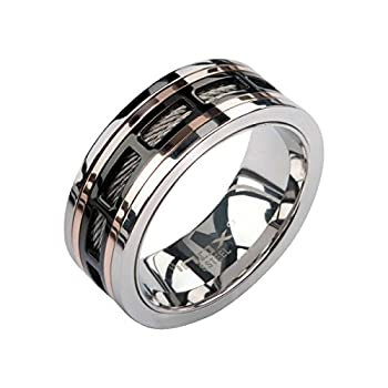 INOX Jewelry Stainless Steel Rose Gold Window Spinner Ring  Black Size 12