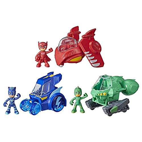 PJ Masks 3-in-1 Combiner Jet Preschool Toy, Toy Set with 3 Connecting Cars and 3 Action Figures for Kids Ages 3 and Up