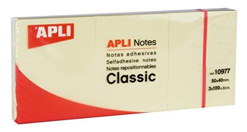 APLI 10977 - Notas adhesivas CLASSIC 40 x 50 mm 3 blocs de 100 hojas color amarillo
