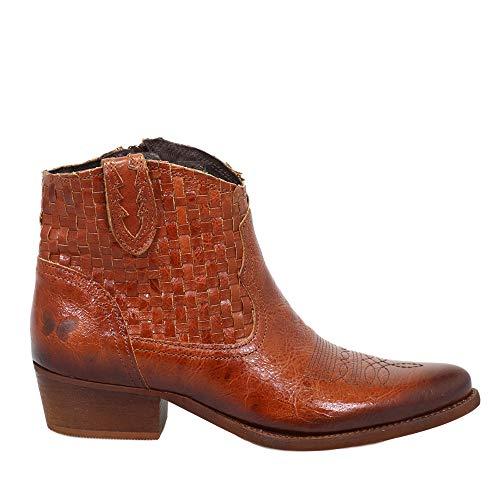 Felmini - Zapatos para Mujer - Enamorarse com West B879 - Botines Cowboy & Biker - Cuero Genuino - Marrón