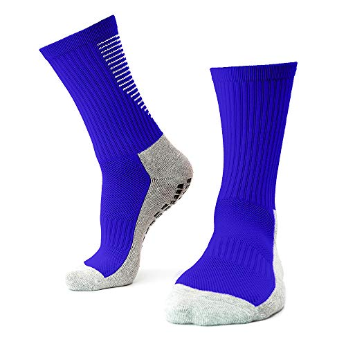 Playwear Fußball Socken rutschfest Blau   1 Paar 40-46 Herren Grip Socks   Anti Slip Strumpf mit Sport Sneaker Fit für Trekking Wandern Basketball Tennis Football