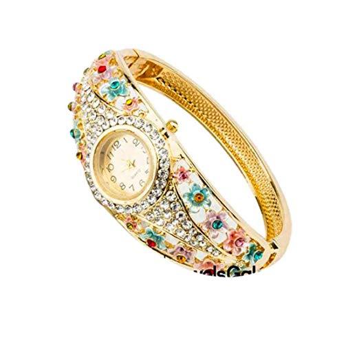 55Carat Reloj analógico de diseño elegante chapado en oro con perlas de cristal con tachuelas modernas étnicas, pulsera ajustable para mujeres y niñas