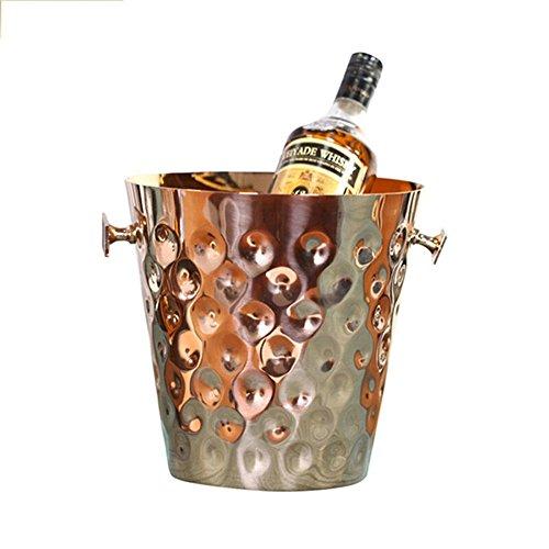 FTC Ice Bucket Secchiello per Ghiaccio in Acciaio Inossidabile con Punta a Martello in Oro Rosa. Secchiello per Il Ghiaccio in Oro Rosa 23x23x23cm, in Oro Rosa