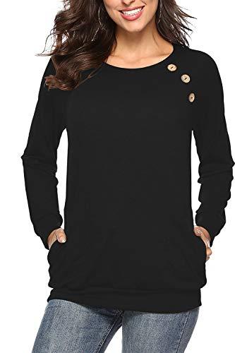 NICIAS Damen Langarmshirt Pullover Lässige Rundhals Sweatshirt Schaltflächen Hemd T Shirt Bluse Tunika Top mit Taschen Schwarz M