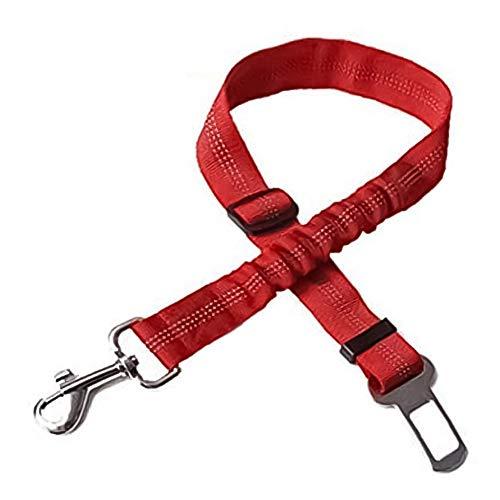 Asiento Perro De La Correa del Arnés De Seguridad del Coche De Plomo Ajustable con Antichoque Elástico Amortiguador Auxiliar Buffer Rojo 1pc