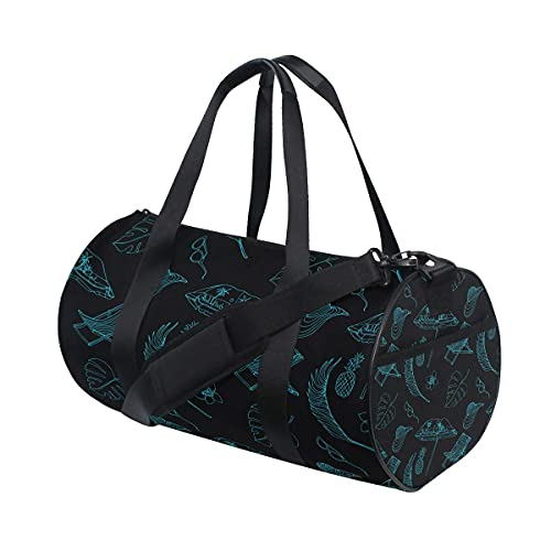 Bolsa de deporte para gimnasio, paraguas de playa, hojas exóticas, natación, deportes, gimnasio, bolsa con compartimento para zapatos y bolsillo húmedo para mujeres o hombres