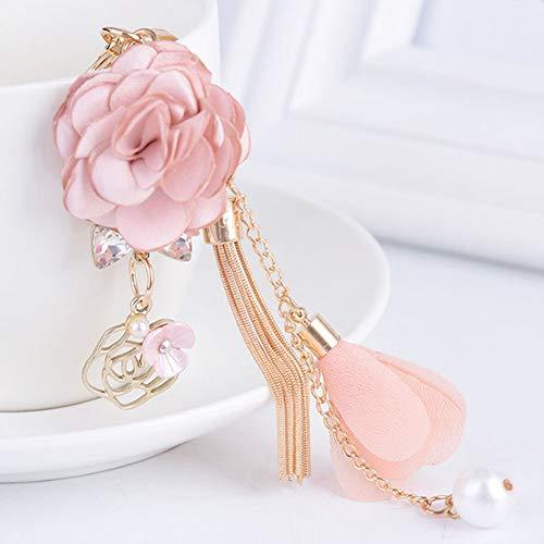 N/A Charm Pink Rose bloemen sleutelhanger goud kleur kristal lus ketting kwast sleutelring tas hanger sieraden