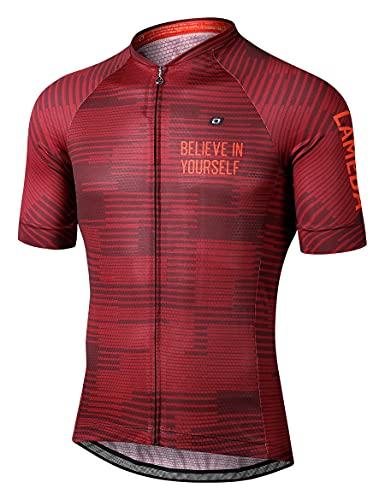 LAMEDA Maillot Ciclismo Hombre Verano Ropa Ciclista Hombre Poliéster 100% Transpirable Ropa Camiseta Ciclismo Elástico y De Secado Rápido(Rojo,M)