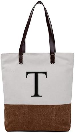 Embroidered Monogram Name Duotone Brown Women Casual Canvas Shoulder Bags Bag Messenger Bag Zipper Tote Bags
