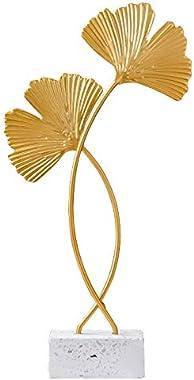 BBrand Ginkgo Leaf Sculpture Gold Leaf Statue for Home Decoration Desktop Decor Figurines (2 Pack) (Solid)