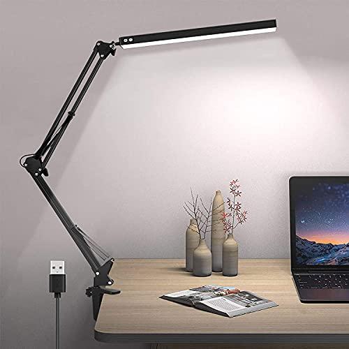 Lámpara de escritorio LED Lámpara de lectura de brazo Eye-Care Architect USB Lámpara regulable con 3 modos de color 10 niveles Adecuado Para Oficina, Lectura, Estudios