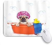 PATINISAマウスパッド 泡の背景にゴム製のアヒルのクリーニングテーマで浴槽でお風呂を持つ犬 ゲーミング オフィ良い 滑り止めゴム底 ゲーミングなど適用 マウス 用ノートブックコンピュータマウスマット