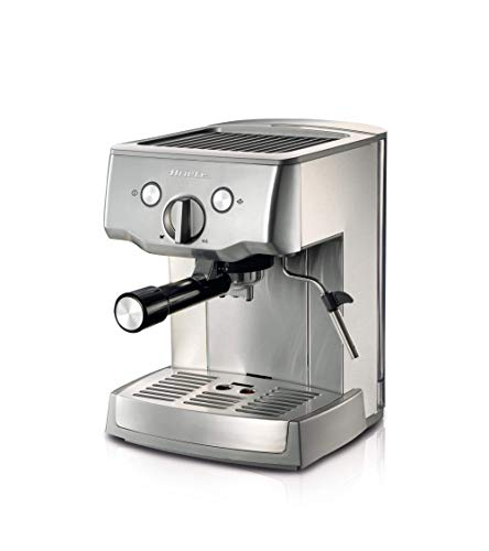 Ariete 1324 Cafetera espresso de metal para café molido y monodosis, 1.000 w, 15 bares, capacidad 1.5 l, bandeja goteo extraíble, cuerpo acero inoxidable