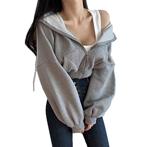 Shownicer Damen Sweatjacke Teenager Mädchen Kapuzenpullover Langarm Kurz Hoodie Sweatshirt Crop Pullover Tops Kapuzenjacke mit Zip B Grau L